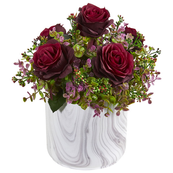 13 Roses Eucalyptus Artificial Arrangement in Marble Finished Vase - SKU #1756 - 1
