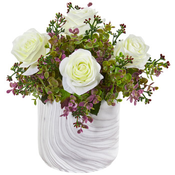 13 Roses Eucalyptus Artificial Arrangement in Marble Finished Vase - SKU #1756