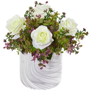 13 Roses Eucalyptus Artificial Arrangement in Marble Finished Vase - SKU #1756