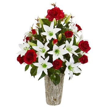 Rose Lily Artificial Arrangement in Weathered Vase - SKU #1757