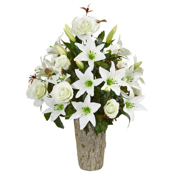 Rose Lily Artificial Arrangement in Weathered Vase - SKU #1757-WH
