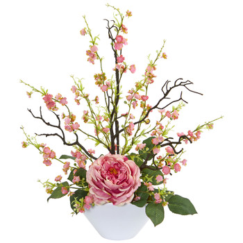 Rose Cherry Blossom Artificial Arrangement - SKU #1758-PK