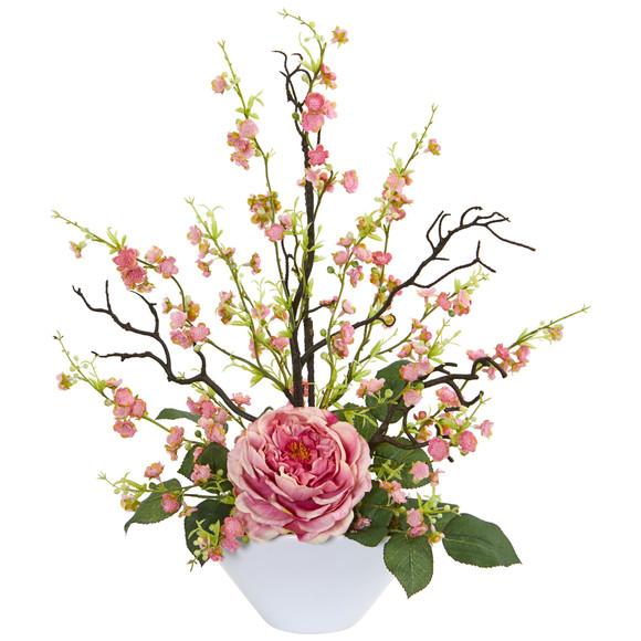 Rose Cherry Blossom Artificial Arrangement - SKU #1758 - 1