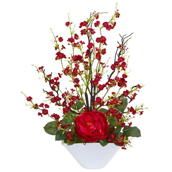 Rose Cherry Blossom Artificial Arrangement - SKU #1758