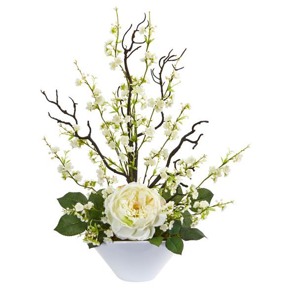 Rose Cherry Blossom Artificial Arrangement - SKU #1758 - 2