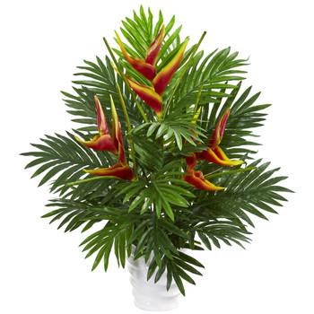 25 Heliconia Areca Palm Artificial Arrangement - SKU #1759