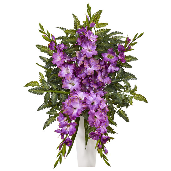 Gladiolas Fern Artificial Arrangement in White Vase - SKU #1760 - 2