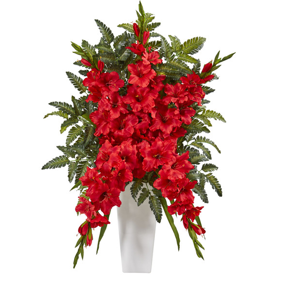 Gladiolas Fern Artificial Arrangement in White Vase - SKU #1760