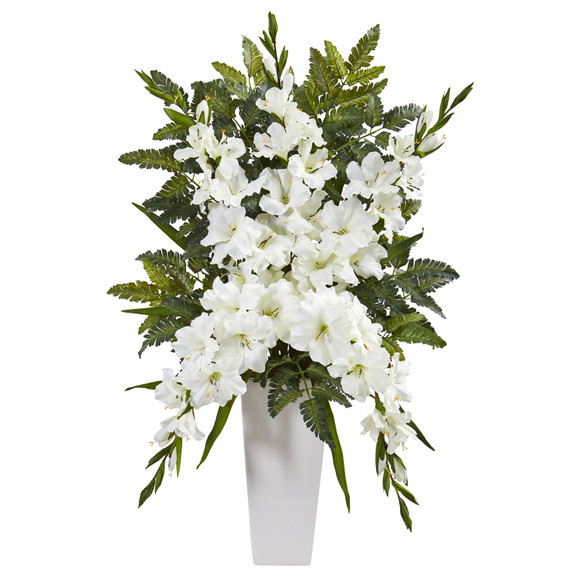 Gladiolas Fern Artificial Arrangement in White Vase - SKU #1760 - 1