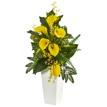 39 Calla Lily Forsythia and Mixed Greens Artificial Arrangement - SKU #1763