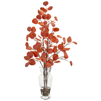 Eucalyptus Artificial Arrangement in Glass Vase - SKU #1764