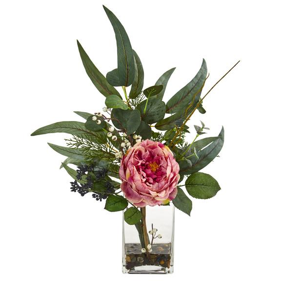 21 Rose and Eucalyptus Artificial Arrangement - SKU #1765 - 1