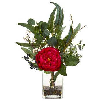 21 Rose and Eucalyptus Artificial Arrangement - SKU #1765
