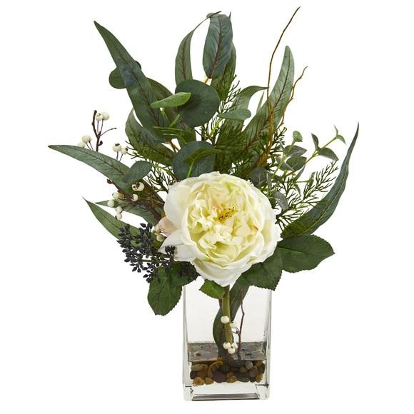 21 Rose and Eucalyptus Artificial Arrangement - SKU #1765 - 2