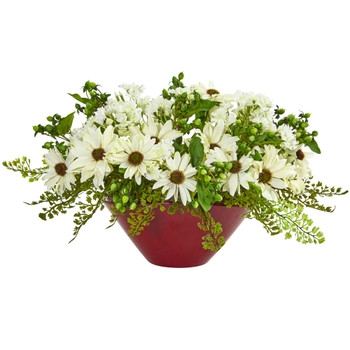 Daisy Artificial Arrangement in White Vase - SKU #1766-CR