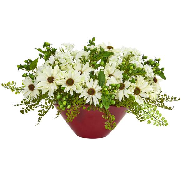 Daisy Artificial Arrangement in White Vase - SKU #1766 - 1