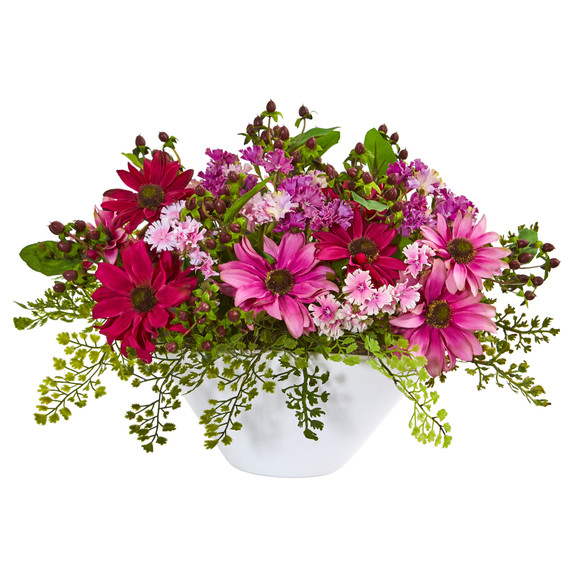 Daisy Artificial Arrangement in White Vase - SKU #1766