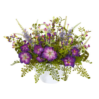 Morning Glory Artificial Arrangement White Vase - SKU #1768