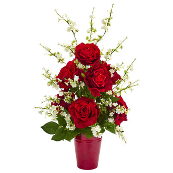 28 Rose and Cherry Blossom Artificial Arrangement - SKU #1770