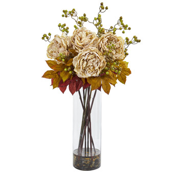 36 Peony and Berries Artificial Arrangement in Large Cylinder Vase - SKU #1773-CR