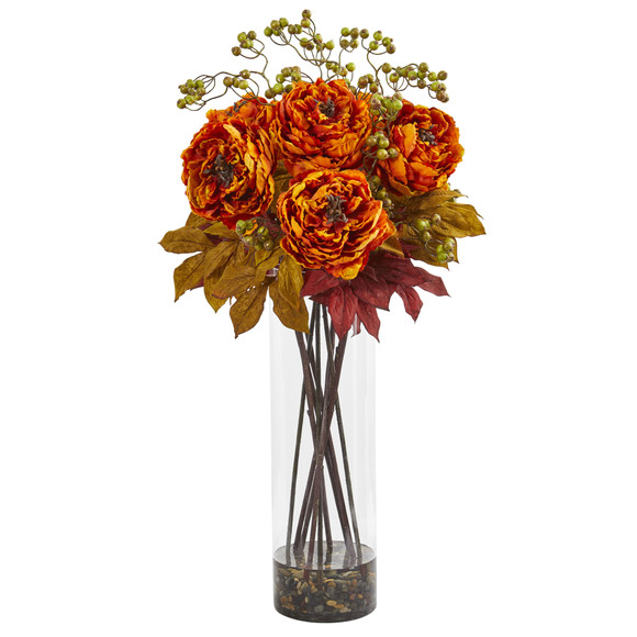 36 Peony and Berries Artificial Arrangement in Large Cylinder Vase - SKU #1773 - 2