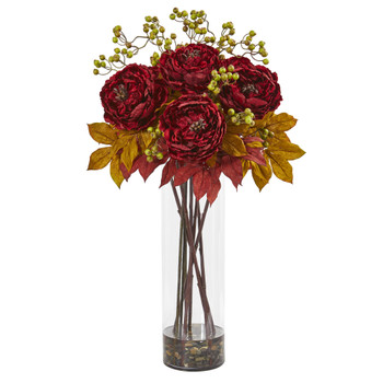 36 Peony and Berries Artificial Arrangement in Large Cylinder Vase - SKU #1773