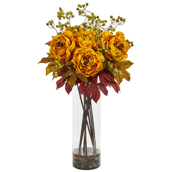 36 Peony and Berries Artificial Arrangement in Large Cylinder Vase - SKU #1773 - 1