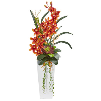 3 Cymbidium Orchid and Succulent Artificial Arrangement - SKU #1774-BG
