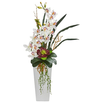 3 Cymbidium Orchid and Succulent Artificial Arrangement - SKU #1774