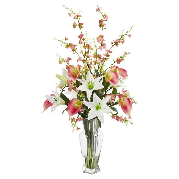 Calla Lily and Cherry Blossom Artificial Arrangement - SKU #1776 - 1