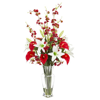 Calla Lily and Cherry Blossom Artificial Arrangement - SKU #1776