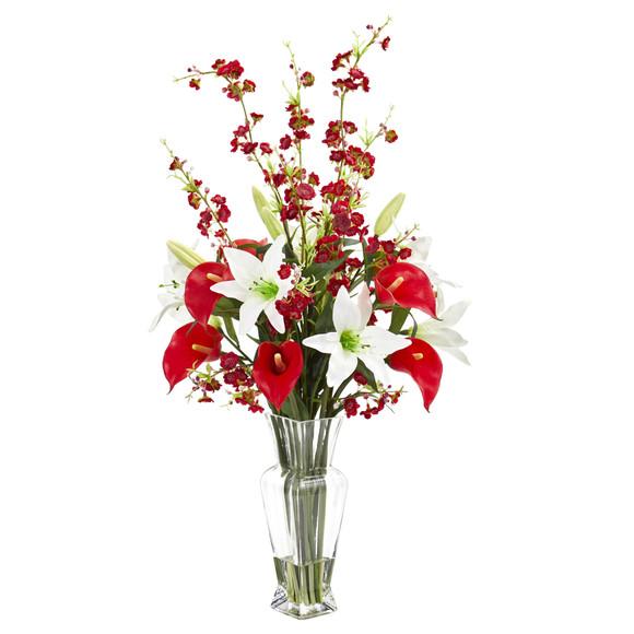Calla Lily and Cherry Blossom Artificial Arrangement - SKU #1776
