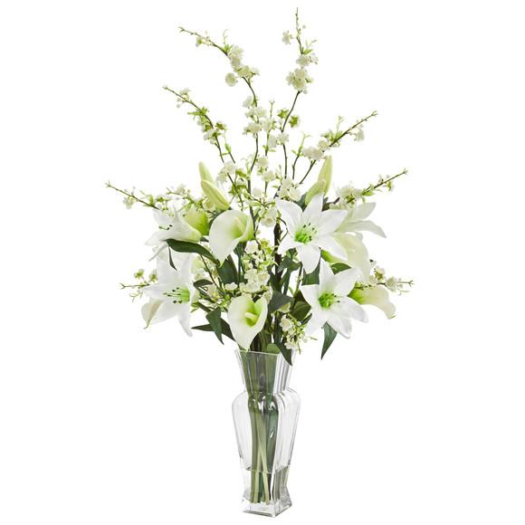 Calla Lily and Cherry Blossom Artificial Arrangement - SKU #1776 - 2