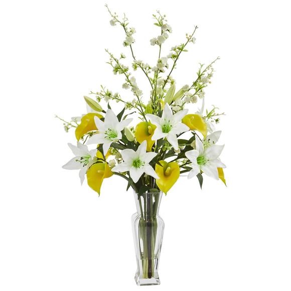 Calla Lily and Cherry Blossom Artificial Arrangement - SKU #1776 - 3