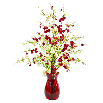 Cherry Blossom Artificial Arrangement in Ruby Vase - SKU #1777-AS