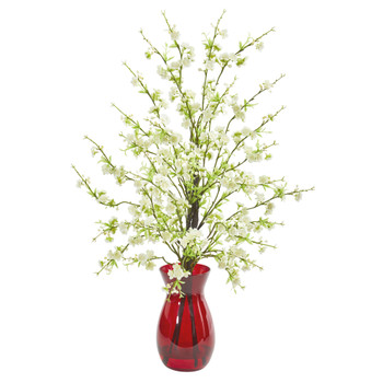 Cherry Blossom Artificial Arrangement in Ruby Vase - SKU #1777