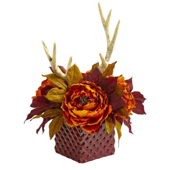 Peony and Antlers Artificial Arrangement in Red Vase - SKU #1779 - 3