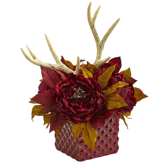 Peony and Antlers Artificial Arrangement in Red Vase - SKU #1779