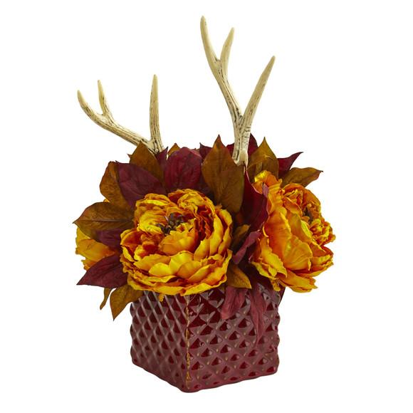 Peony and Antlers Artificial Arrangement in Red Vase - SKU #1779 - 1