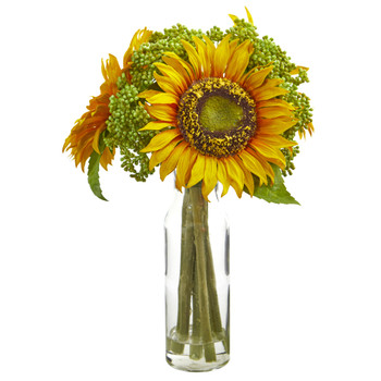 12 Sunflower Artificial Arrangement in Vase - SKU #1780