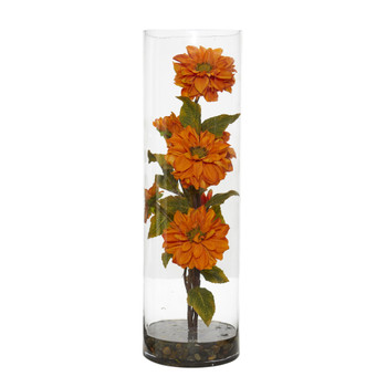 Zinnia Artificial Arrangement in Cylinder Vase - SKU #1783-OR