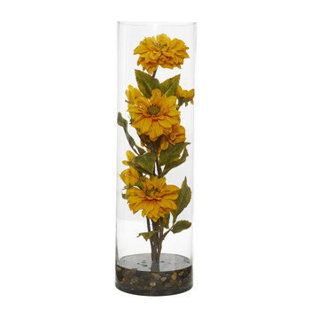 Zinnia Artificial Arrangement in Cylinder Vase - SKU #1783