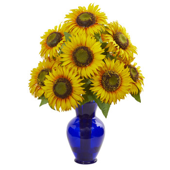 Sunflower Artificial Arrangement in Blue Garden Vase - SKU #1786