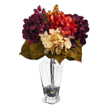 Autumn Hydrangea Berry Artificial Arrangement in Glass Vase - SKU #1788