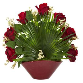 Rose and Fan Leaf Artificial Arrangement in Burgundy Vase - SKU #1789