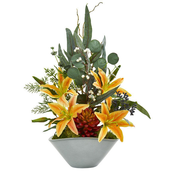 22 Lilies Succulent and Eucalyptus Artificial Arrangement - SKU #1791