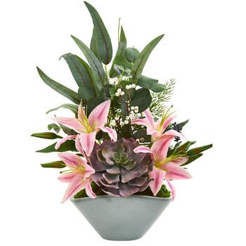 Lilies Echeveria Succulent and Eucalyptus Artificial Arrangement - SKU #1792