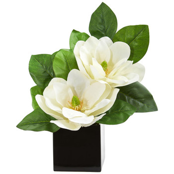 Magnolia Artificial Arrangement in Black Vase - SKU #1793