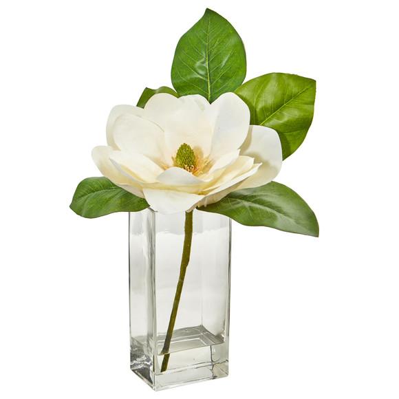 Large Magnolia Artificial Arrangement in Glass Vase - SKU #1794