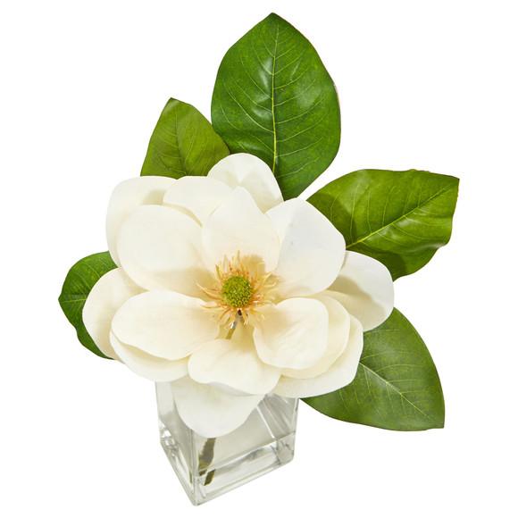 Large Magnolia Artificial Arrangement in Glass Vase - SKU #1794 - 1